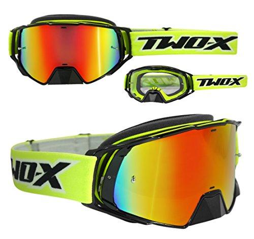 TWO-X Rocket Crossbrille schwarz gelb Glas verspiegelt Iridium MX Brille Nasenschutz Motocross Enduro Spiegelglas Motorradbrille Anti Scratch MX Schutzbrille Nose Guard