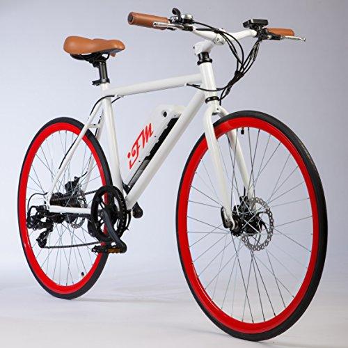 Bicicletta City Bike Elettrica Uomo Rossa Batteria Litio 26