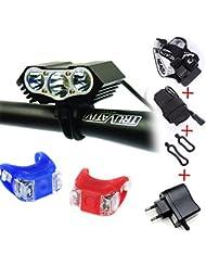 E-FUN imperméables à l'eau de commutateur de la lampe +Battery Pack+Charger 4 de lumière de vélo de lumière de bicyclette du lumen XML U2 Cree 3x LED de la lumière 6000 de vélo du hibou LED