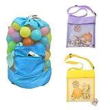Sandspielzeug Tasche, Kordelzug Rucksack Mesh Shell Taschen für Spielzeug und Handtücher im Schwimmbecken Sommerurlaub (3er Pack)