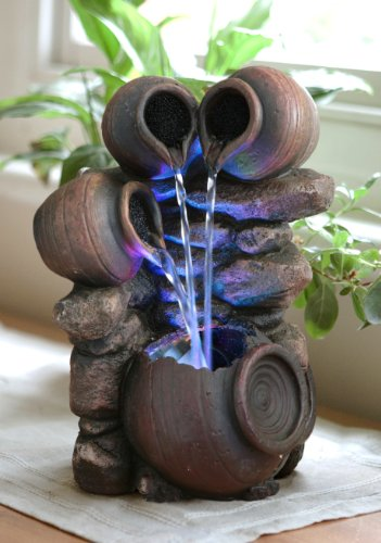 "Zimmerbrunnen ""Honigtopf"" mit bunter LED-Beleuchtung, 27cm"