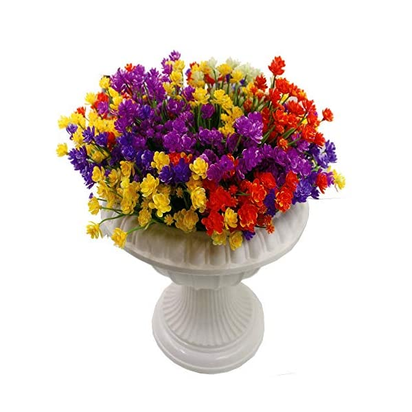 CHBOP Flores Artificiales Falsas 5 Paquetes de 5 Colores al Aire Libre Resistente a los Rayos UV arbustos Plantas…