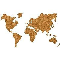 WallPops WPE1941 Cork World Map Pin Board, Brown
