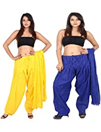 Teej New Combo Offer For Women's 2 Solid Cotton Black Blue Patiala With Dupatta Set - B071ZQ4FGN