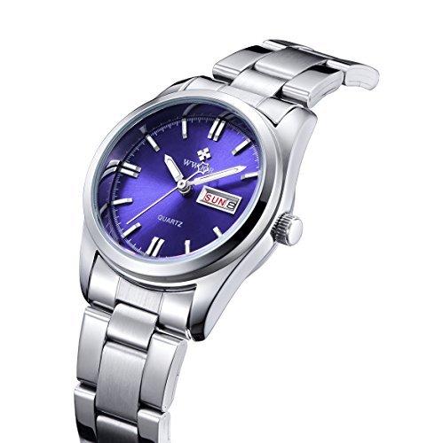 qingmei Damen Klassische Business Quarz Luminous Woche Kalender Edelstahl Strap Armbanduhr Blau
