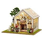Fai-da-te casa delle bambole in legno-Sole Camera dei fiori Kit da costruzione in legno Bambole fatte a mano Casa-Accessori per mobili in miniatura-Compleanno creativo / Natale per ragazzi e ragazze