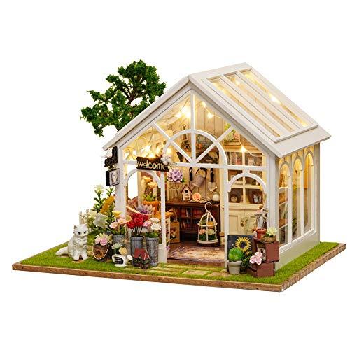 Mumusuki DIY Holz Puppenhaus Kits-Sunshine Flower Zimmer Woodcraft Construction Kit Handmade Puppenhaus-Miniatur Möbel Zubehör-Creative Geburtstag/Weihnachten für Jungen und Mädchen -