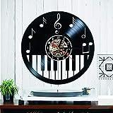 OLILEIO Piano Disco de Vinilo Registro de Vinilo Reloj Estilo Creativo y Antiguo Negro Redondo LED Reloj de Pared Música Piano Decoración Arte Reloj, NO LED
