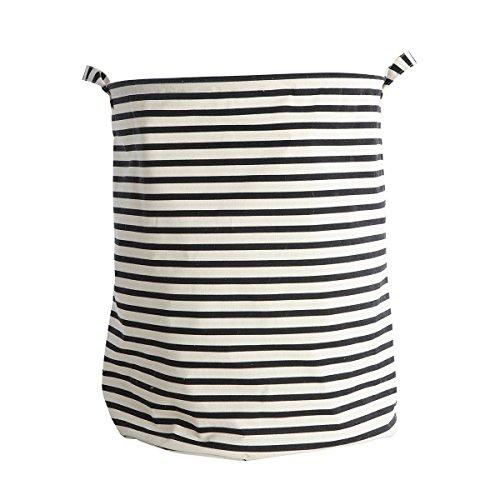 House Doctor - Wäschekorb - Wäschesack - Stripes - Schwarz/Weiß Höhe 50 cm Ø 40 cm (Fleckenentfernung Stoff)