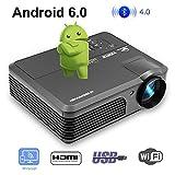 LED HD 1080P Maison WiFi Projecteur Bluetooth LCD 4200 Lumen WXGA Projecteur sans Fil Android Bluetooth Audio HDMI USB VGA AV Haut-parleurs intégrés pour iPhone iPad Mac PC Xbox PS4 Jeux de Films DVD