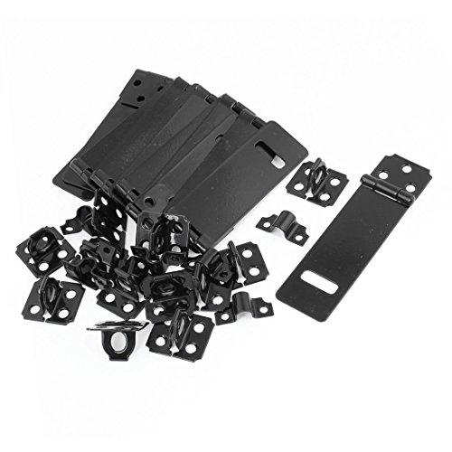 DealMux 12set 4,9 'Länge Tür Sicherheits-Black Metal Hasp Staples Set für Schubkästen -