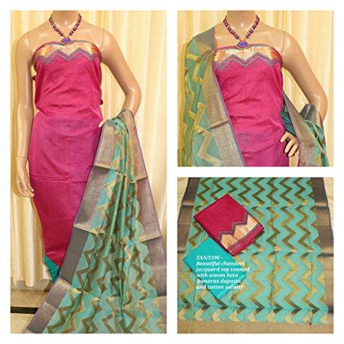 Avni Fashion Beautiful Chanderi jacquard Top teamed with woven Kota Banaras Dupatta...