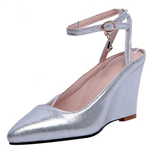 COOLCEPT Femmes Mode Cheville Sandales Bout Ferme Compenses Slingback Chaussures Argent