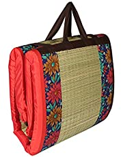 CRAFT OF INDIA Cushion Happy Sleeping River Grass Foldable Mat Easy Hand Wash, 3X6ft, Red
