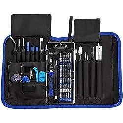 Tournevis de précision 81 en 1 INLIFE Kit demontage Outil de réparation professionnelle avec 54 embouts pour iPhone, téléphone portable, iPad, tablettes,montres,bijoux,lunettes