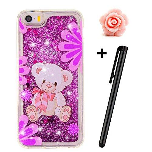TOYYM - Cover per iPhone SE/5S/5, trasparente, glitter, bollicine galleggianti, cuori dellamore e stelline 3D mobili, in TPU Purple Bear