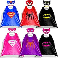 Capa de Superhéroe para Niños - 6 Capa y 6 Máscaras - Ideas Kit de Valor de Cosplay de Diseño de Fiesta de Cumpleaños de Navidad - Juguetes para Niños y Niñas (Capas de Nina)