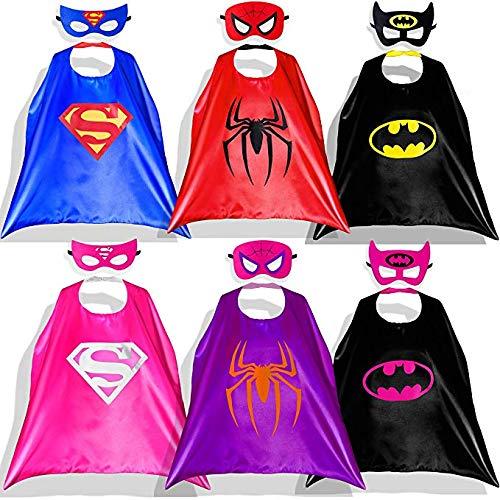Capa de Superhéroe para Niños - 6 Capa y 6 Máscaras - Ideas Kit de Valor de Cosplay de Diseño de Fiesta de Cumpleaños de Navidad - Juguetes para Niños y Niñas (Capas de Nina) …