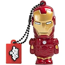 Tribe Disney Marvel Avengers Iron Man - Memoria USB 2.0 de 8 GB Pendrive Flash Drive de goma con llavero, color rojo