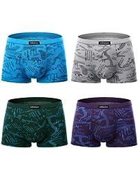 wirarpa Calzoncillos Bóxers Hombre Pack de 4 Microfibra Ropa Interior Multicolor Underwear Talla S-2XL