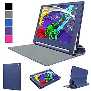 """EveCase Étui de PU Cuir Synthétique Bleu avec soutien intégré - pour le nouveau Lenovo Yoga Tablet 2 10"""" (10 pouces / inches)"""