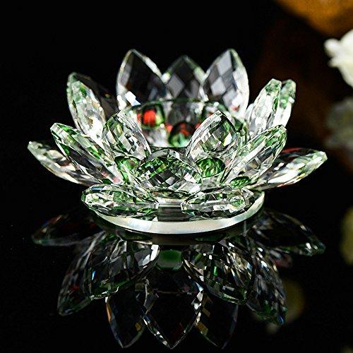 TianranRT 7 Farben Kristall Glas Lotus Blume Kerze Tee Licht Halter Buddhist Kerzenständer (Grün) (Grüner Tee-kristall-licht)