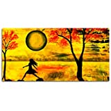 Tamatina Modern Art Canvas Paintings - There She Goes - Abstract Paintings - Yellow - Nature - Trees - Large Paintings - Paintings For Living Room - Paintings For Bedroom - Abstract Wall Paintings.
