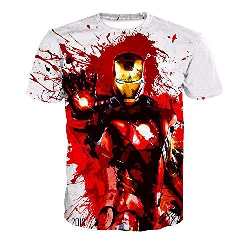3D T-Shirt Unisex HD Gedrucktes Rundhalsausschnitt Lässig Mit Print Kurzarm Top Iron Man XL (Paare Man Kostüm Iron)