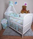 Amilian® Baby Bettwäsche 5tlg Bettset mit Nestchen Kinderbettwäsche Himmel 100x135cm Eule Türkis Chiffonhimmel