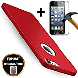 [Pack 2] Coque Compatible avec iPhone Se / 5S / 5 Silicone TPU Mat Housse Rouge +...