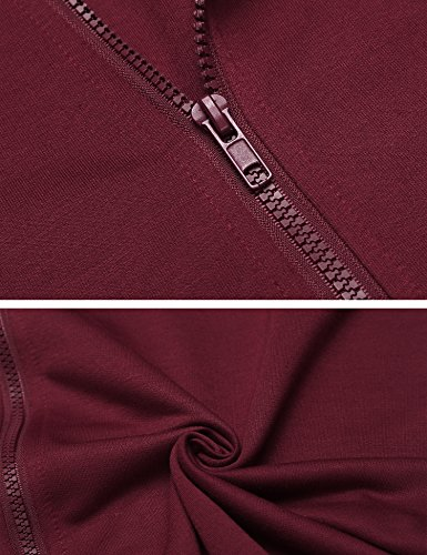 Beyove Damen Sweatjacke Kapuzen-Jacke Zip-Hood mit Kapuze aus hochwertiger Weinrot