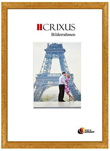 Crixus40 Echtholz Bilderrahmen für 77 x 24 cm Bilder, Farbe: Ocker Gelb mit Goldverzierung, Massivholz Rahmen in Maßanfertigung mit Acryl Kunstglas (Bruchsicher) und MDF Rückwand, Rahmen Breite: 40 mm, Aussenmaß: 83,9 x 30,9 cm