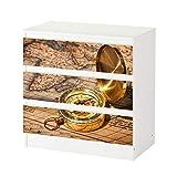 Set Möbelaufkleber für Ikea Kommode MALM 3 Fächer/Schubladen Vintage antike Karte gold Kompass Retro Aufkleber Möbelfolie sticker (Ohne Möbel) Folie 25C882, Kommode 3 Fächer:Kommode 3 Fächer