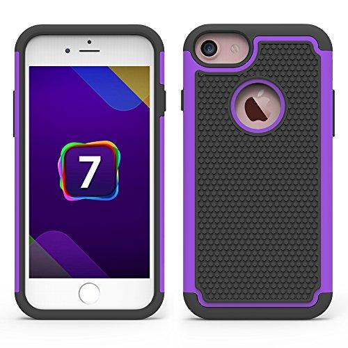 iPhone 7 Hülle, CMID Handy Hard Cover Hybrid Dual Layer Rugged Silikon Schutzhülle für iPhone 7 (Schwarz) Violett