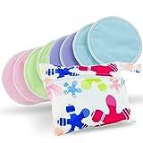 Discos de lactancia de bambú orgánico lavables, pack de 8 colores(4 pares) con bolsa para lavarlos – Naturales, reutilizables, ultra suaves y muy absorbentes; los discos de lujo definitivos para el pecho - De Serenity Bamboo