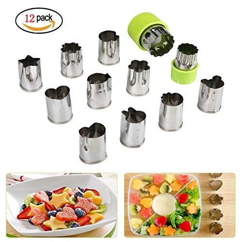 Nifogo Plätzchen Ausstecher, Ausstechformen, 12 Stück Edelstahl Keksausstecher, Torten Deko, Fondant Ausstecher Backzubehör für Kuchen Plätzchen Gemüse Obst