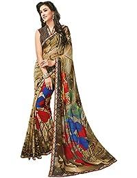 Pshopee Women's Chiffon Saree With Blouse Piece (Psmfkanganas1-153, Brown, Free Size)