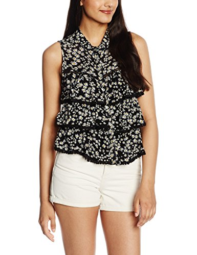 Only Damen Onlmirabelle S/L Cropped Top, Mehrfarbig (Black AOP:Ditsy Daisy), 38 (Top Ditsy Print)