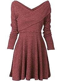 Damen Frauen Basic Langarm Casual Strick Herbst Kleider
