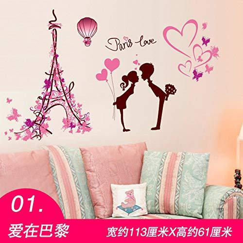 MEIWALL Chevet fille chaude 3D Love In Paris Stickers muraux amovibles pour enfants chambre d'enfant chambre salon cuisine enfants chambre mur art décor autocollant