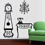 Walplus Removable Self-Adhesive Wall Stickers Furniture Grandfather Clocks Chandelier Telephone Mural Art Decals Vinyl Home Decoration DIY Living Bedroom Décor Wallpaper 140x220 cm, Black - Walplus - amazon.co.uk
