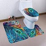 ZHENXIANGA 3 Pz/Set Pavone Wc Tappetino Tappeto Toilette Tappetino Da Bagno Tappetino Wc CoprisediliAccessori DaToeletta Per LaCasa