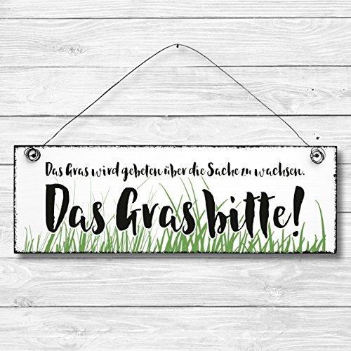 Das Gras bitte - Dekoschild Türschild Wandschild Holz Deko Schild 10x30cm Holzdeko Holzbild Deko Schild Geschenk Mitbringsel Geburtstag Hochzeit Weihnachten (Gebet Hochzeit Die)