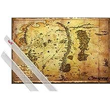 Póster + Soporte: El Hobbit Póster (91x61 cm) Mapa De La Tierra Media Y 1 Lote De 2 Varillas Transparentes 1art1®