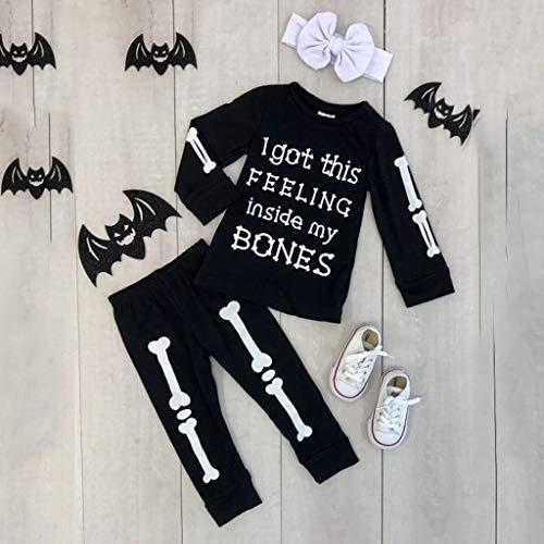 syeytx 0-5 Jahre Baby Outfits Set, Halloween Kleinkind Kinder Jungen Knochen T Shirt + Hosen Stirnband Outfits Kostüm Set für Weihnachten Party Kinder - Wenig Knochen Kleinkind Kostüm