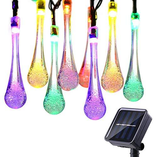 Alokie Solar Outdoor Lichterkette 4.85 Meter 20 LEDs Wassertropfen Solarbetrieben Lichterkette...