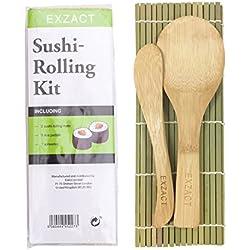 Exzact EX-SR04 Kit Sushi in bambù per arrotolare 4 Pezzi - 2 x stuoie, 1 x Paletta Riso, 1 x spalmatore Riso, Tutti Naturali.