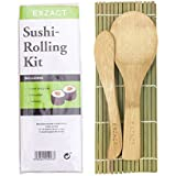 EXZACT EX-SR04 Kit de bambú para enrollar sushi – 4 piezas – 2 x esteras, 1 x paleta de arroz, 1 x esparcidor de arroz, Todo natural