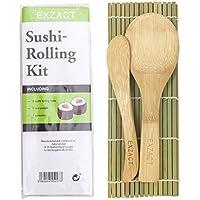 EXZACT EX-SR04 Kit à Rouler le Sushi en Bamboo 4 pièces - 2 x Tapis, 1 x Cuillère à riz, 1 x Épandeur de Riz, Naturel