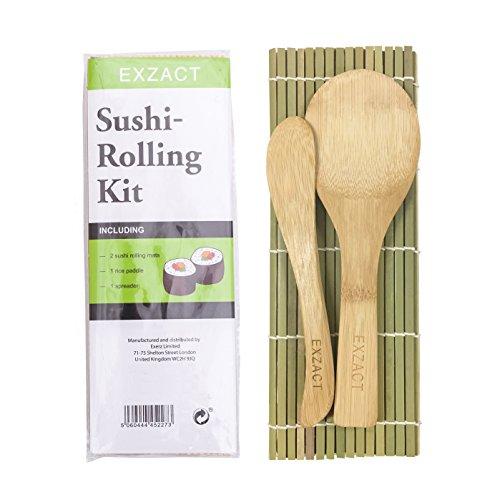 Kit premium de 4 piezas para enrollar sushi - Incluye 2 x esteras de bambú (24 x 23cm / 9.5 x 9 pulgadas), 1 x paleta de arroz (20 x 6cm / 6 x 2.5 pulgadas) y 1 x esparcidor de arroz (19 x 3cm / 7.5 x 1.2 pulgadas). Este set está enteramente hecho de...